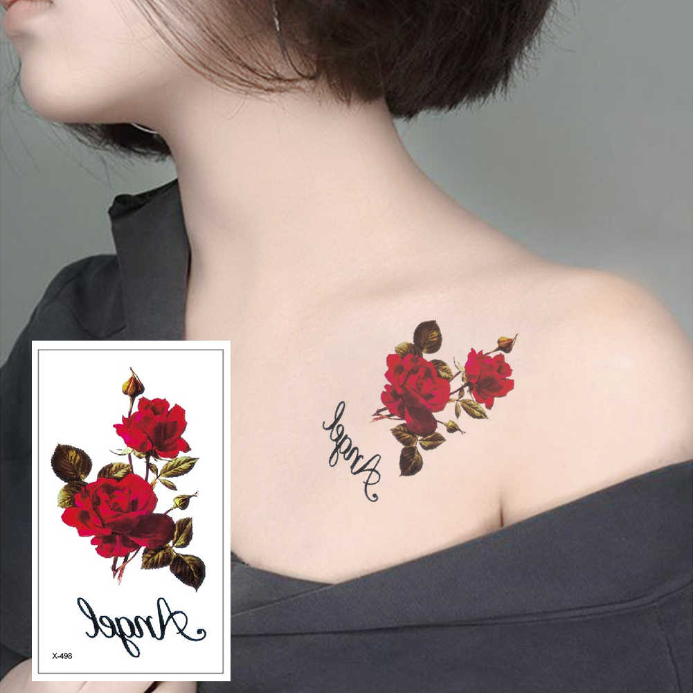 Red color Rose blossom flower brand new fashion waterproof temporary tattoo sticker tatoo tatto men women flash fake henna