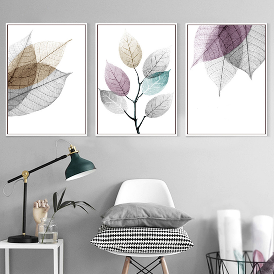 Wall Art Canvas Paintings Watercolor Abstract Leaf Nordic Minimalist Pictures Prints Home Decor Poster For Living Room Modular in Painting Calligraphy from Home Garden