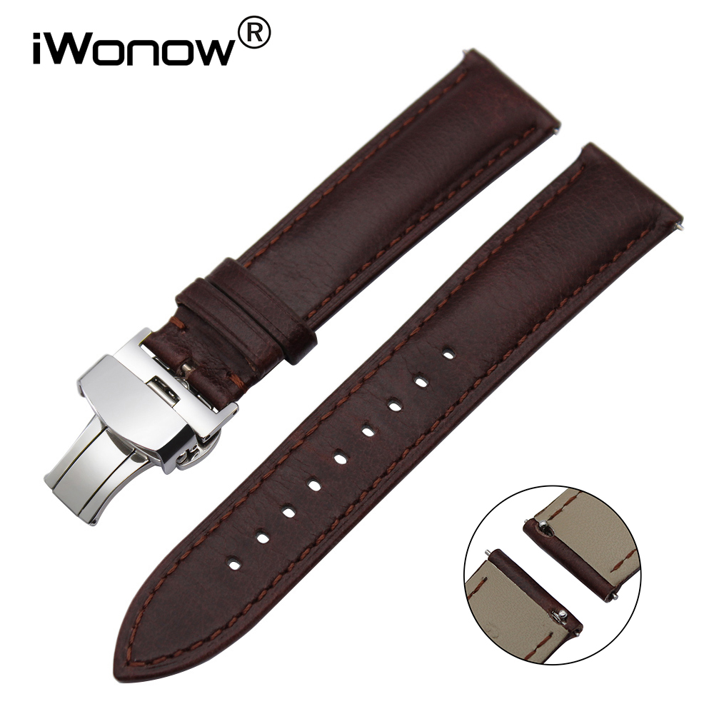 22mm Italian Genuine Leather Watch Band for Samsung Gear S3 Classic Frontier Gear 2 Neo Live Vector Quick Release Wrist Strap