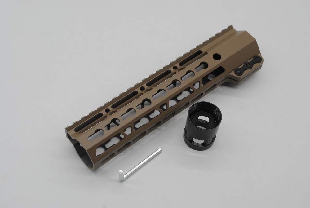 TriRock New 9'' Inch Length Slim Free Floating Handguard Rail Mount System Fit AR-15 .223/5.56 Rifle Tan/ FDE Color