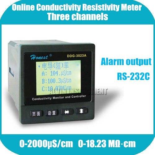 Три канала Промышленные онлайн проводимости сопротивление монитор контроллер метр передатчик реле сигнализации и выходной ток