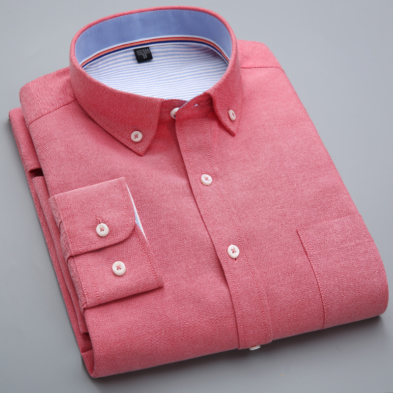 QISHA Fashion Shirt For Men Oxford Long Sleeve Red Black Mens Dress Shirt Collor Male Office Shirts Tops Camisa Social Masculina