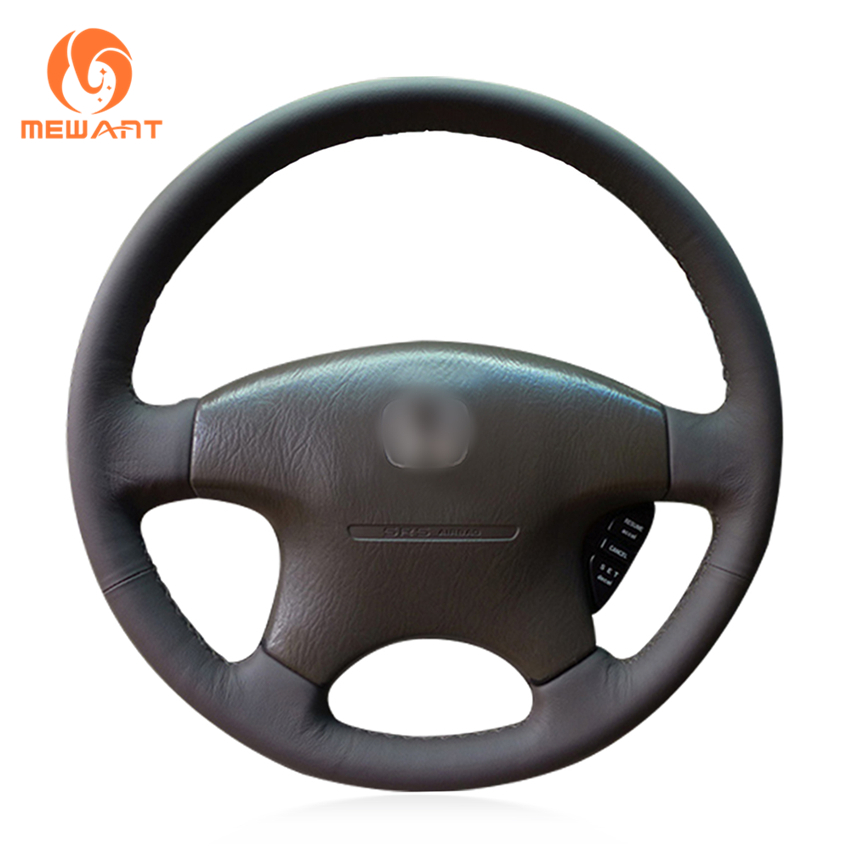 MEWANT Black Genuine Leather Car Steering Wheel Cover for Honda Accord 6 1998- 2002 Odyssey 1998-2001 Acura CL 1998-2003 mewant black artificial leather steering wheel cover for acura cl 1998 2003 mdx 2001 2002 honda accord 6 1998 2002 odyssey