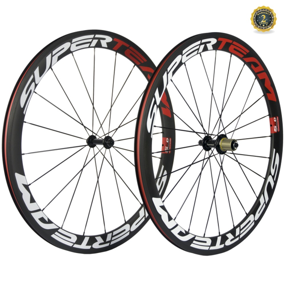 Superteam 50mm Clincher Tubular Carbon bike Road wheels carbon bicycle wheelset