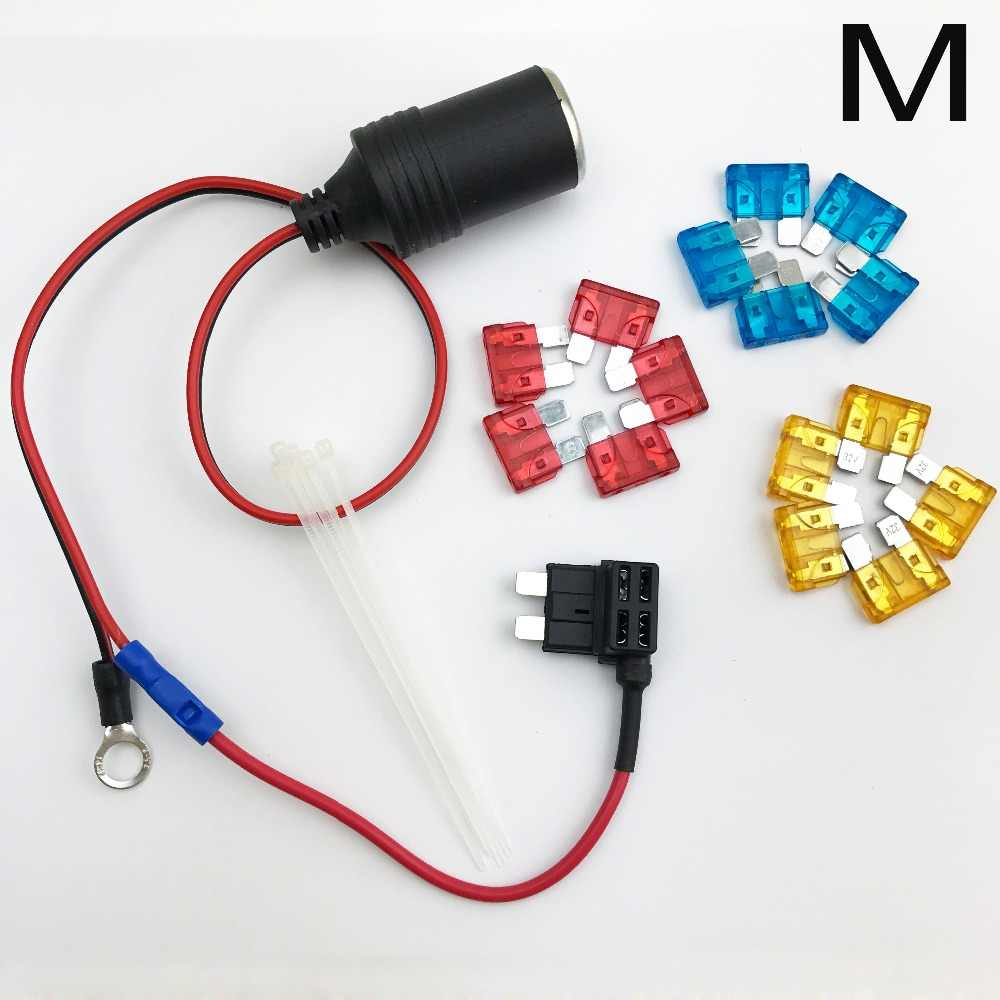 1set 30cm Car Cigarette Cigar Lighter Socket 12v Extension Standard Fuse Tap Holder Lead With M