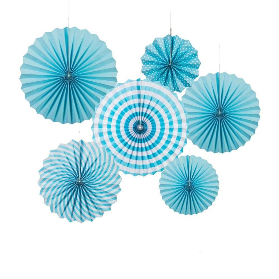 Set Of 6 Fabulous Light Blue Paper Fan Hanging Decorations in 3 Sizes! Fun Colorful Party Decor!