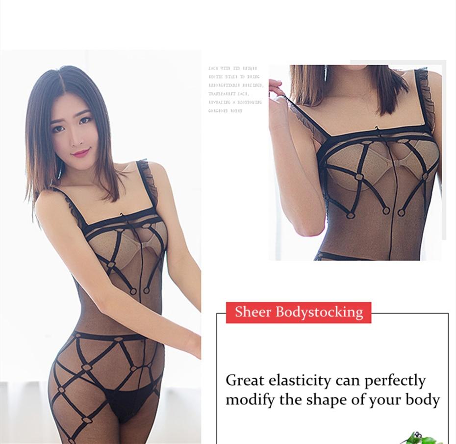 fc5719af8c2d Selebritee señoras Sheer Bodystocking Sexy Hot Bodysuits transparente Body  Medias Lencería erótica ropa interior para mujer. 1 2 ...