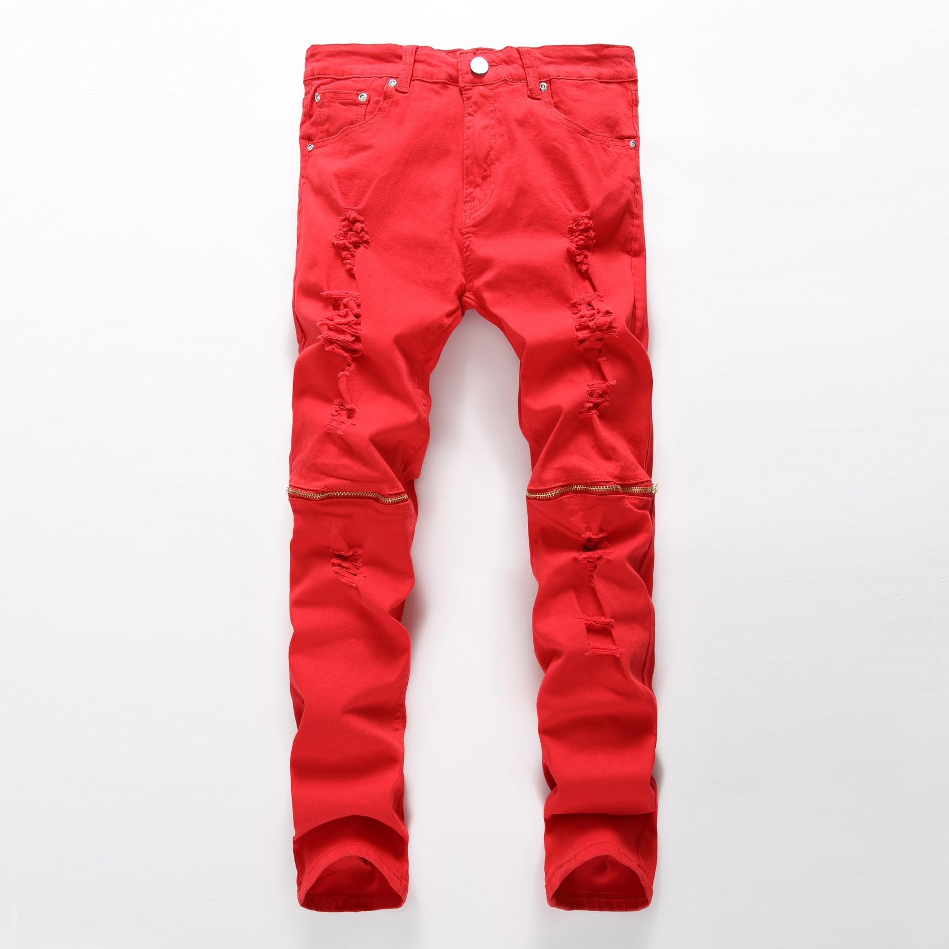 Red zipper decoration Skinny jeans men Ripped jeans Fashion Casual Slim fit Biker jeans Hip hop Denim elastic cotton trousers 2017 fashion patch jeans men slim straight denim jeans ripped trousers new famous brand biker jeans logo mens zipper jeans 604