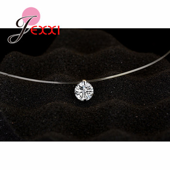 Discount Price 925 Sterling Silver Women Short Chain For Party Jewelry Clear Austrian Crystal Pendant Necklace Gift 2