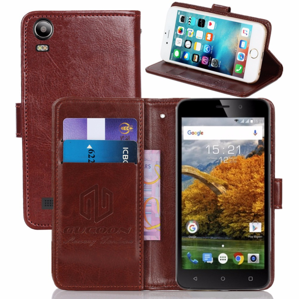 GUCOON Vintage Wallet Case for Fly FS509 Nimbus 9 5.0inch PU Leather Retro Flip Cover Magnetic Fashion Cases Kickstand Strap