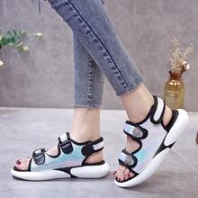 цены на Women's Summer Open Toe Sports Sandals Sequins Flat Sandals  Casual Leisure platform sandals  в интернет-магазинах