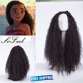 Sofeel 2016 New Movie Moana 75cm long wavy curly dark brown cosplay wig +a wig cap