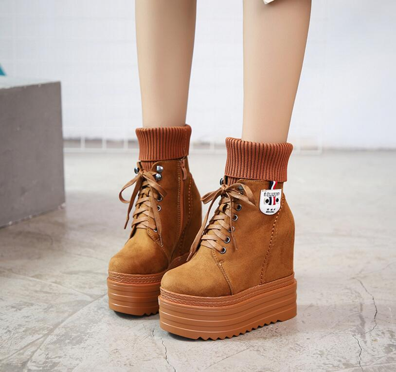 2018 autumn and winter women new style warm with inner short plush lace up bowtie boots female side zipper wedge comfort boots2018 autumn and winter women new style warm with inner short plush lace up bowtie boots female side zipper wedge comfort boots