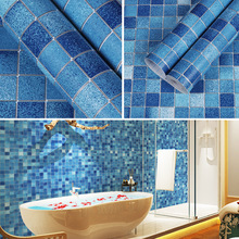 купить Mosaic Wallpaper Toilet Kitchen Waterproof Wallpaper Bathroom PVC Self-adhesive Porcelain Brick Wall Sticker Blue по цене 1237.49 рублей