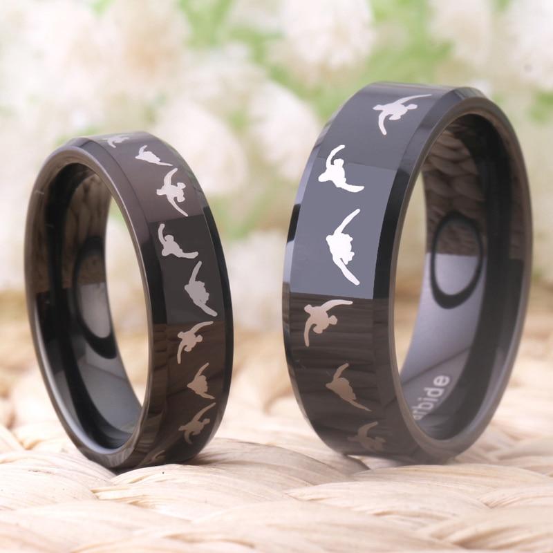 Моден волфрамов сватбен пръстен за - Модни бижута - Снимка 4
