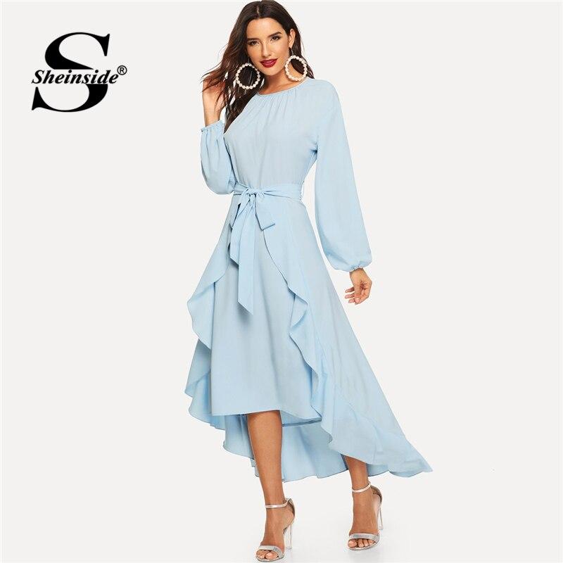 Hem ชุดสตรี Elegant ฤดูใบไม้ผลิสีน้ำเงินไม่สมมาตร