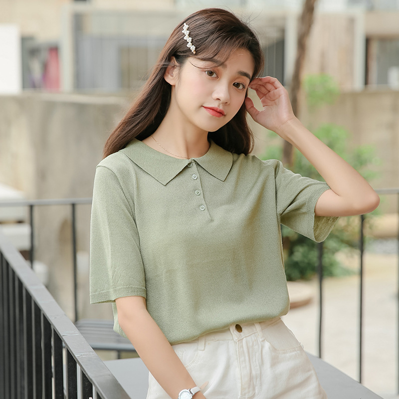 Ice Silk Knitted Short-sleeve Casual Shirt Polo Women 2019 Summer New Korean Simple Chic Avocado Green Solid Breathable Shirts