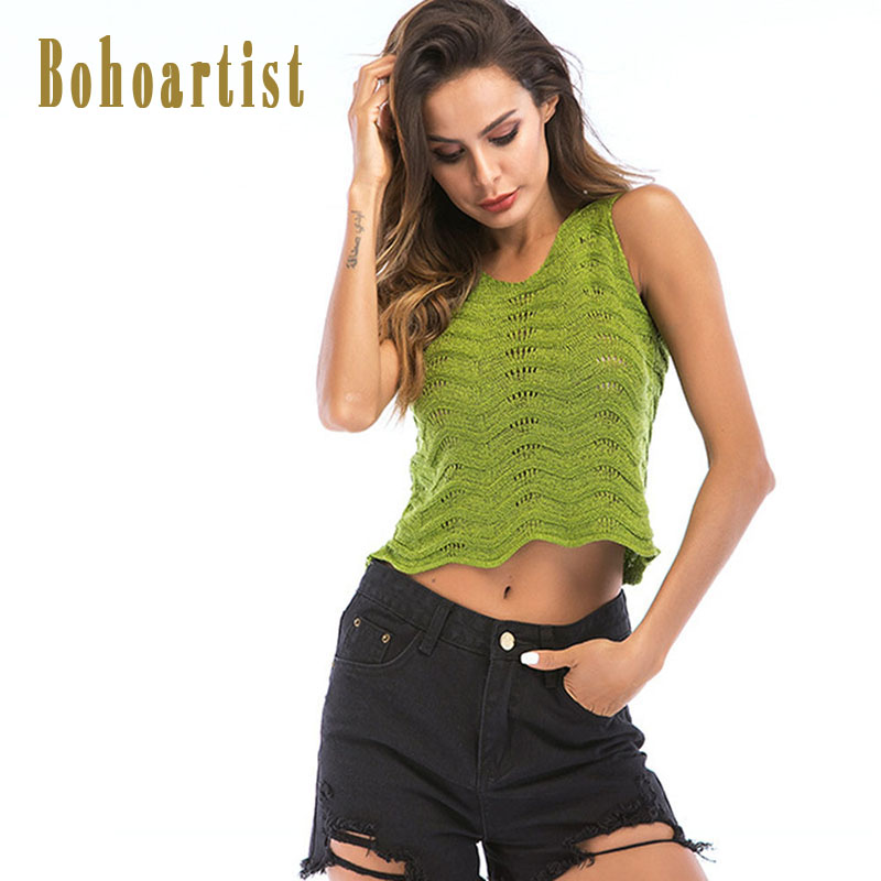 Bohoartist Tops Women Hollow Crop Top Solid Short Camis Sleeveless Wave Black Sexy Club Women Summer Cotton Tank Top 2018 New