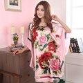 Летний Новый Китайский Стиль Атласа Халат Платье женская Сексуальная Свободные Ночная Рубашка Цветочный Пижамы Vintage Кафтан Халат Плюс Размер