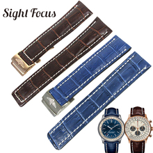 High Quality Watch Straps 22mm 24mm Black Brown Blue Watchbands for Breitling Bracelet Wristband Leather Belts Correas Masculino