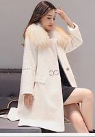 New 2018 winter fashion women's genuine woolen cashmere overcoat with a large real fur collar white black female ladies jacket