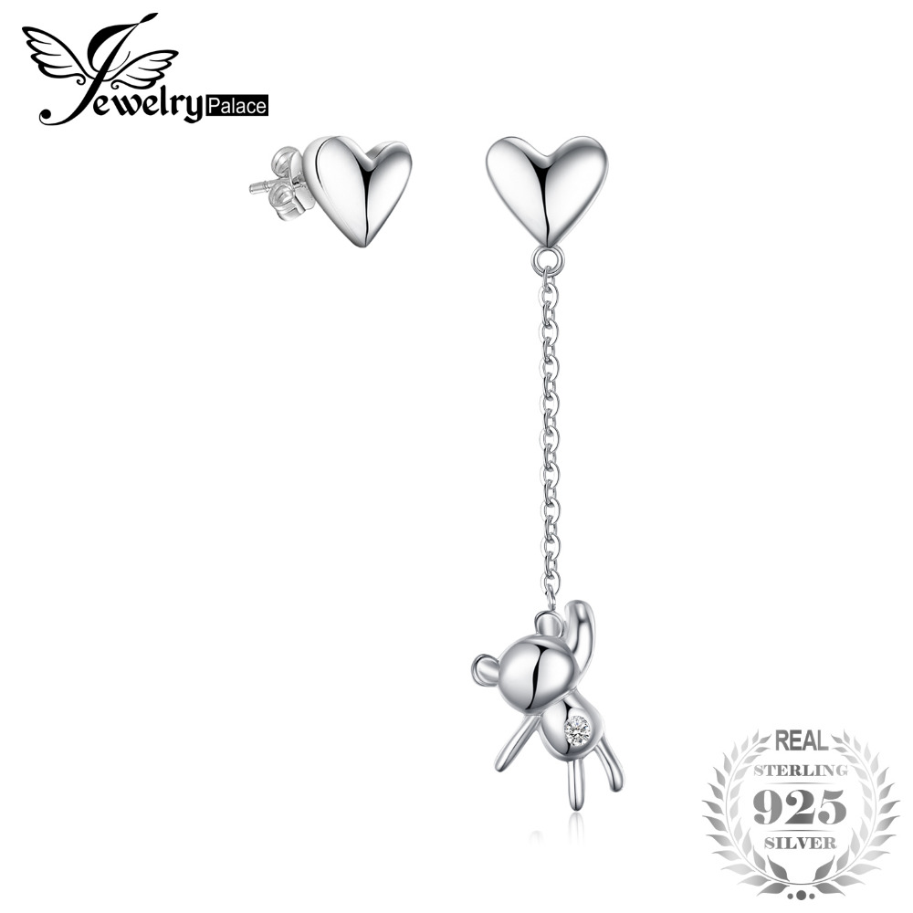 JewelryPalace Bear Heart Thread Drop Earrings 925 Sterling Silver Earrings for Women Girls Korean Earrings Fashion Jewelry 2020
