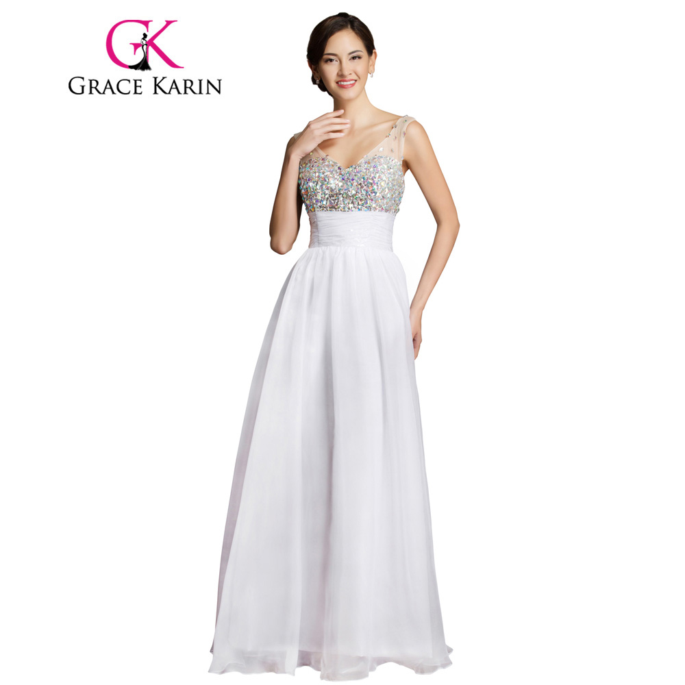 Online Shop Grace Karin Long Evening Dress Elegant Full Length Deep Sky  Blue White Prom Gowns V Neck Beading Sequin Evening Dresses 2018  aaeb484c9a88