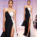 Evening Dresses Long with Split Black and White Zuhair Murad Evening Gowns robe de soiree Anxia Formal Chiffon Prom Party Dress