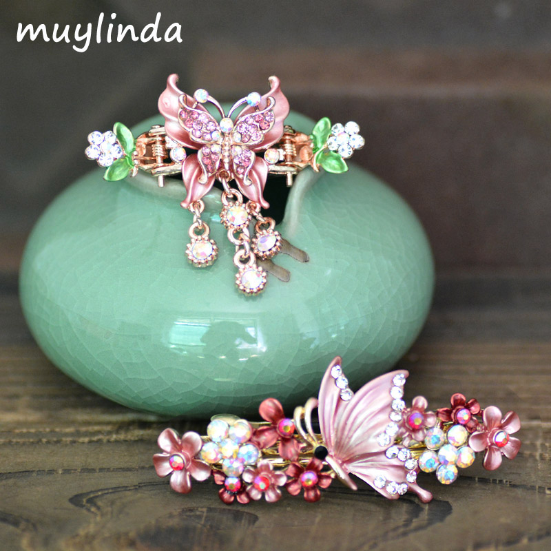 Retro Butterfly Barrettes Hair Clip Women Vintage Painting Metal Hair Accessories Rhinestone Hairpins Jewelry