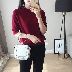 Image 4 - 2018 חדש סגנון נשים של סרוג קשמיר חצי שרוול סוודר חצי גבוהה צווארון Slim סגנון מוצק צמר צבע סוודר משלוח חינם