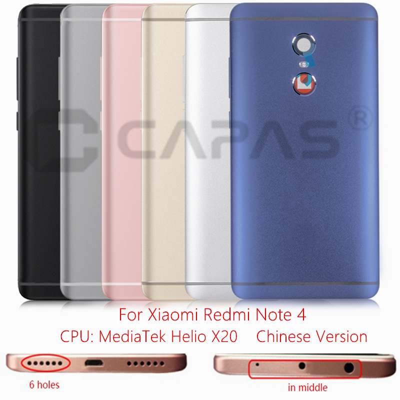 reputable site ed42f b10ba US $7.11 20% OFF|For Xiaomi Redmi Note 4 Mediatek Metal Back Battery Cover  Redmi Note 4 Chinese Version Rear Door Housing Case Replacement Parts-in ...