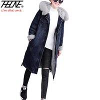 THHONE Denim Jacket Coat Women Parka Fur Hooded Collar Warm Fleece Winter Coats Outwear Snow Wear