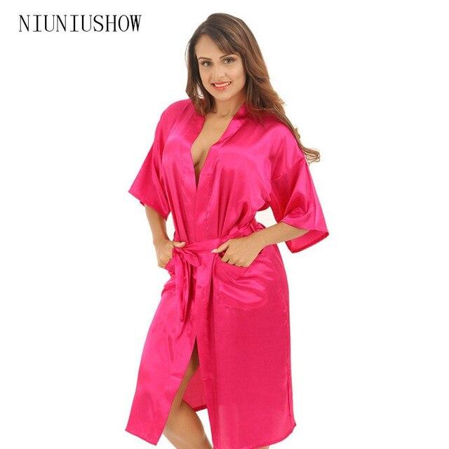 be677ce90a Hot Pink Female Sexy Silk Rayon Robe Chinese Women Sleepwear Kimono Bath  Gown Nightgown Plus Size S M L XL XXL XXXL