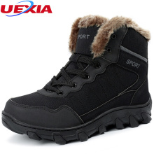 Winter Snow Boots Men Shoes Thermostatic Warm Fur Plush Black Ankel Boots For Men's Waterproof Platform Rubber Plus Size 39-46