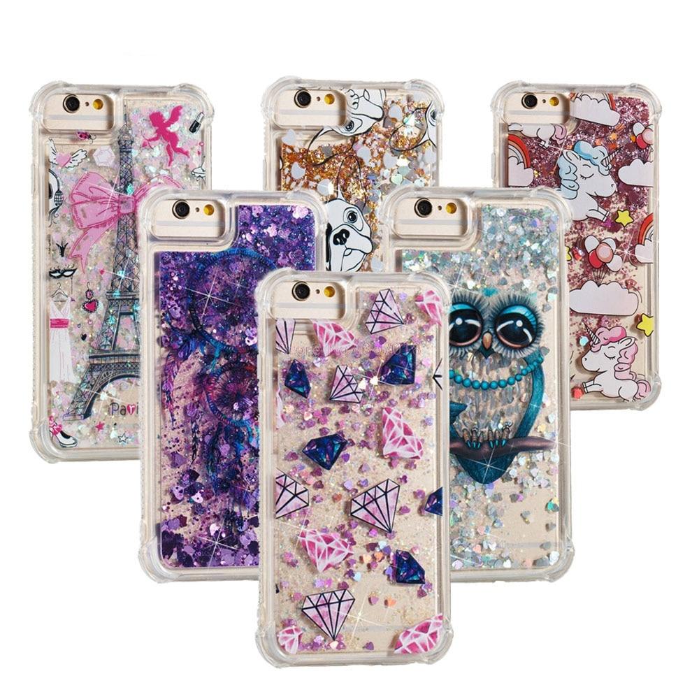 Bling Glitter Case For Huawei Y7 2017 Y7 Prime Dynamic Liquid Quicksand Bumper Cover Trt-l21 Trt-l01 Trt-lx1 Trt-lx2 Phone Funda Half-wrapped Case Phone Bags & Cases