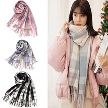 Winter Female Tassel – Wool Plaid Scarf – Women Cashmere Scarves – Wide Lattices – Long Shawl – Wrap Blanket Tippet