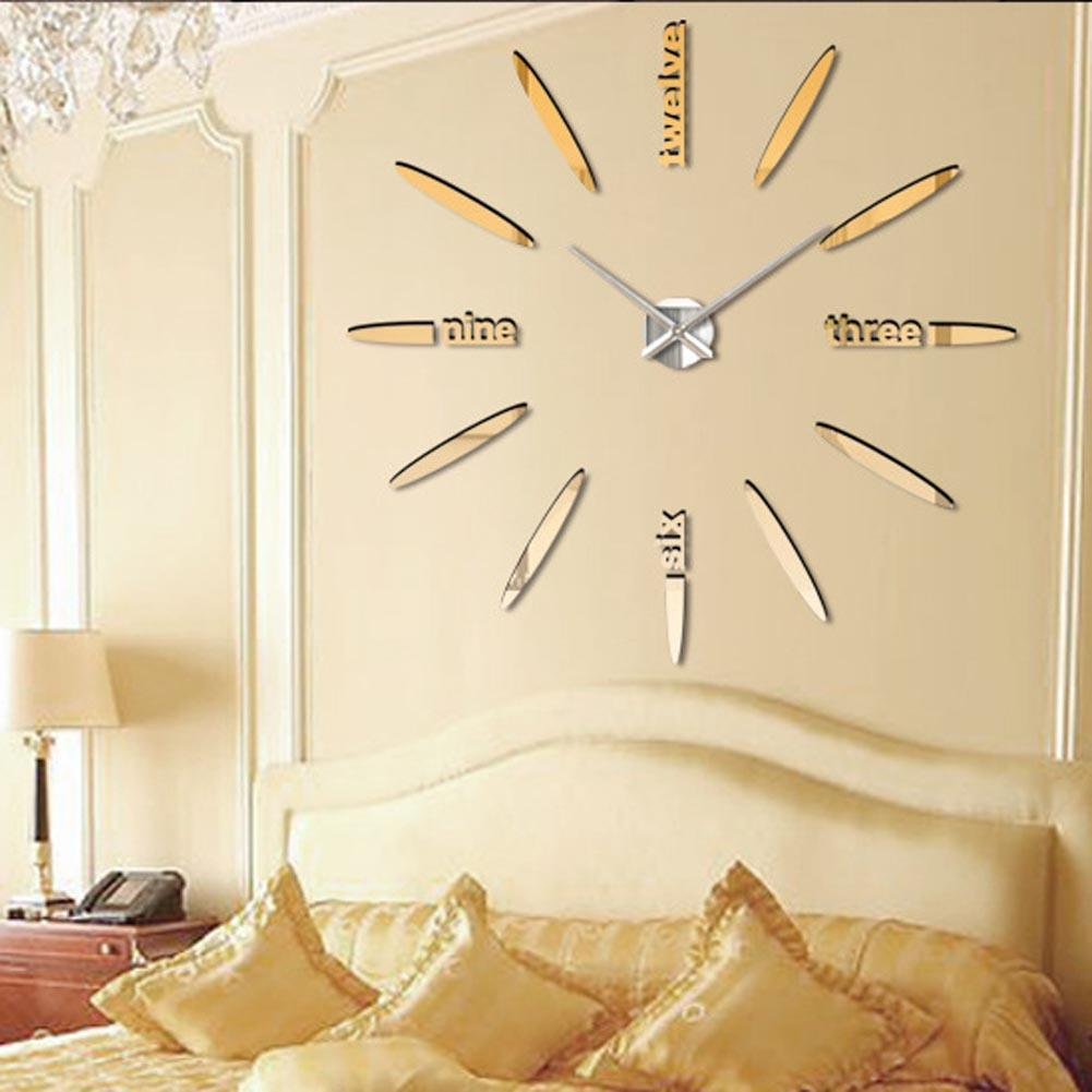 Gold special large diy quartz 3d wall clock Living Room big acrylic watch mirror stickers modern design home decor Office A391 gold metal duvar saati