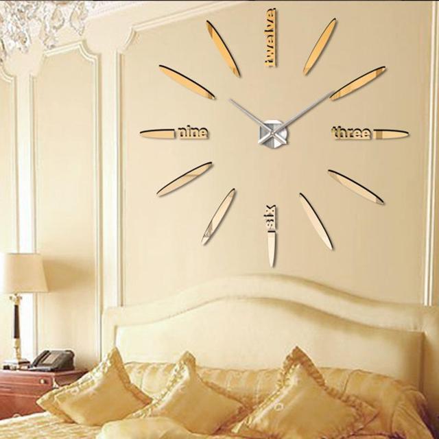 Gold Spezielle Große Diy Quarz 3d Wanduhr Wohnzimmer Große Acryl Uhr  Spiegel Aufkleber Modernes Design Home