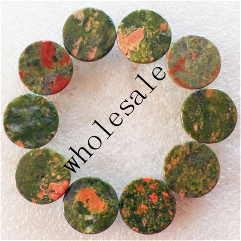 (12 pieces/lot) Wholesale High Quality Natural Unakite Gem Round CAB Cabochon for jewelry Accessories 16x5mm Free Shipping
