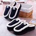 Invierno Nueva Pareja de Algodón Zapatillas de Felpa Zapatos de Interior Calientes Hombres Mujeres Inicio Foor Zapatillas antideslizante de fondo grueso Zapatillas de interior