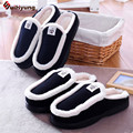 Winter New Couple Cotton Slippers Plush Warm Indoor Shoes Men Women Home Foor Slippers Heavy-bottomed Non-slip Indoor Slippers