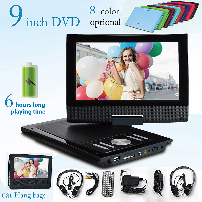 Free Shipping 2018 Portatil Dvd Cd 9 Inch Portable Dvd Player Support For Sd Ms Mmc Card Big battery 6 hours playing 8 color free shipping to ru 7 inch portable dvd player with game and tv function game function support sd ms mmc card