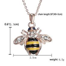 2017 Bee Rose Gold Pendant Necklace Elements Crystal Necklaces For Women ju25