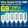 10pcs/lot 5730 SMD AC 110V/220V G9 LED Corn Bulb Lamp Cool/Warm White Light Chandelier Indoor Decoration 7W 9W 12W 15W 20W 25W