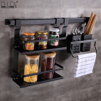 Kitchen Storage Holders Kitchen Shelf Flavoring Rack Knife Tool holder Black Wall Mounted Kitchen Kitchen Shelf Hook EK8801