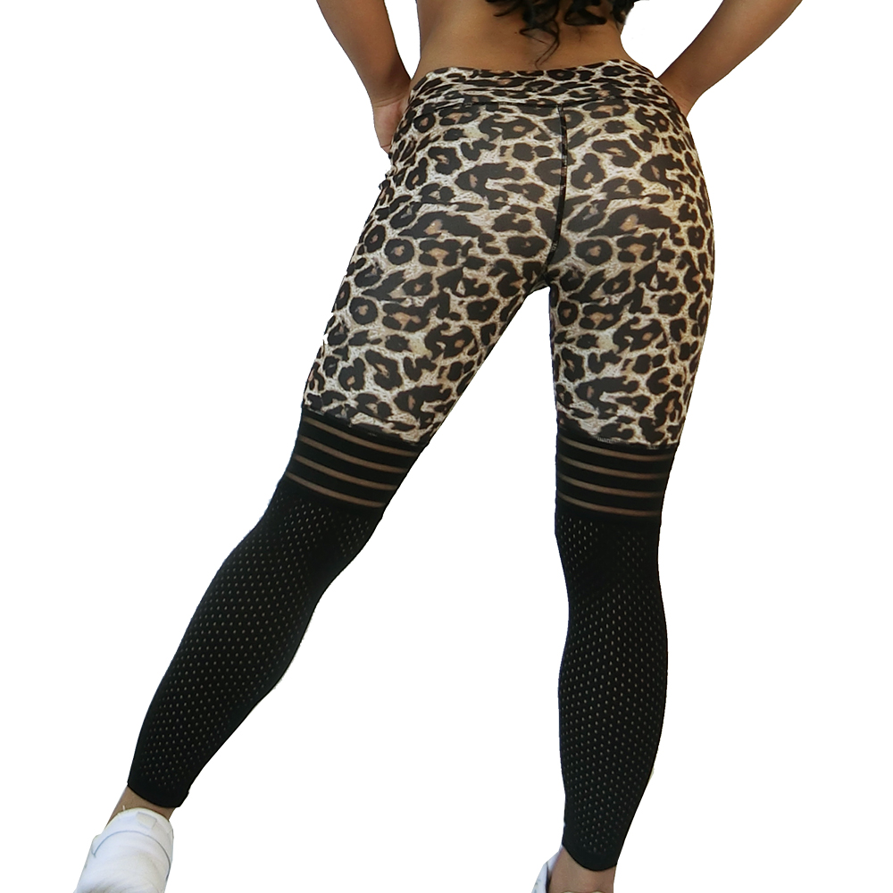 Normov Women Leggings Sexy Leopard Leggings High Waist   Fitness Workout Leggins Women Mesh Patchwork Jeggings Gym Clothing