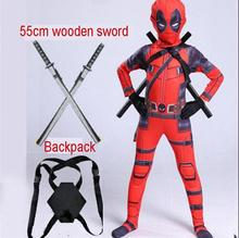 2019 deadpool costume for kids child boys Superhero Spandex Suit Party Halloween Cosplay Costume With Swords Gloves