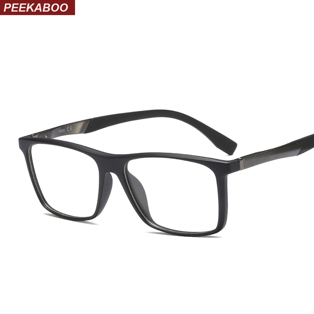 ee543cbc6d0 Peekaboo rectangle eyeglasses frame optical women clear lens 2019 high  quality fashion TR90 glasses men optical black brown
