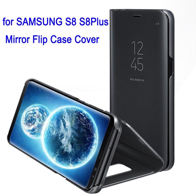 Pour Samsung Galaxy S8 S 8 Plus miroir Flip Case couverture 360 mignon antichoc cuir armure luxe intelligent clair vue Standin Original