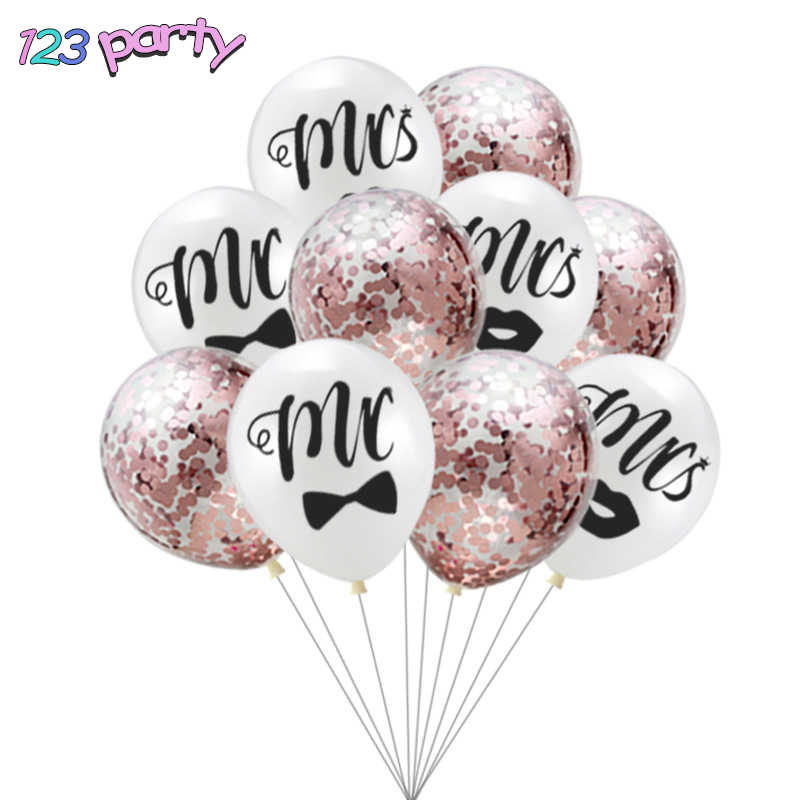10Pcs 12inch MR MRS Latex Confetti Balloon Set Wedding Decoration Party Supplies
